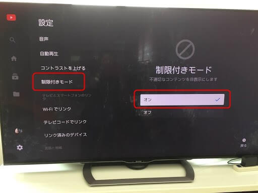テレビでYouTubeの視聴制限